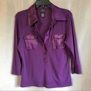 INC Top in Purple with Satin Trim